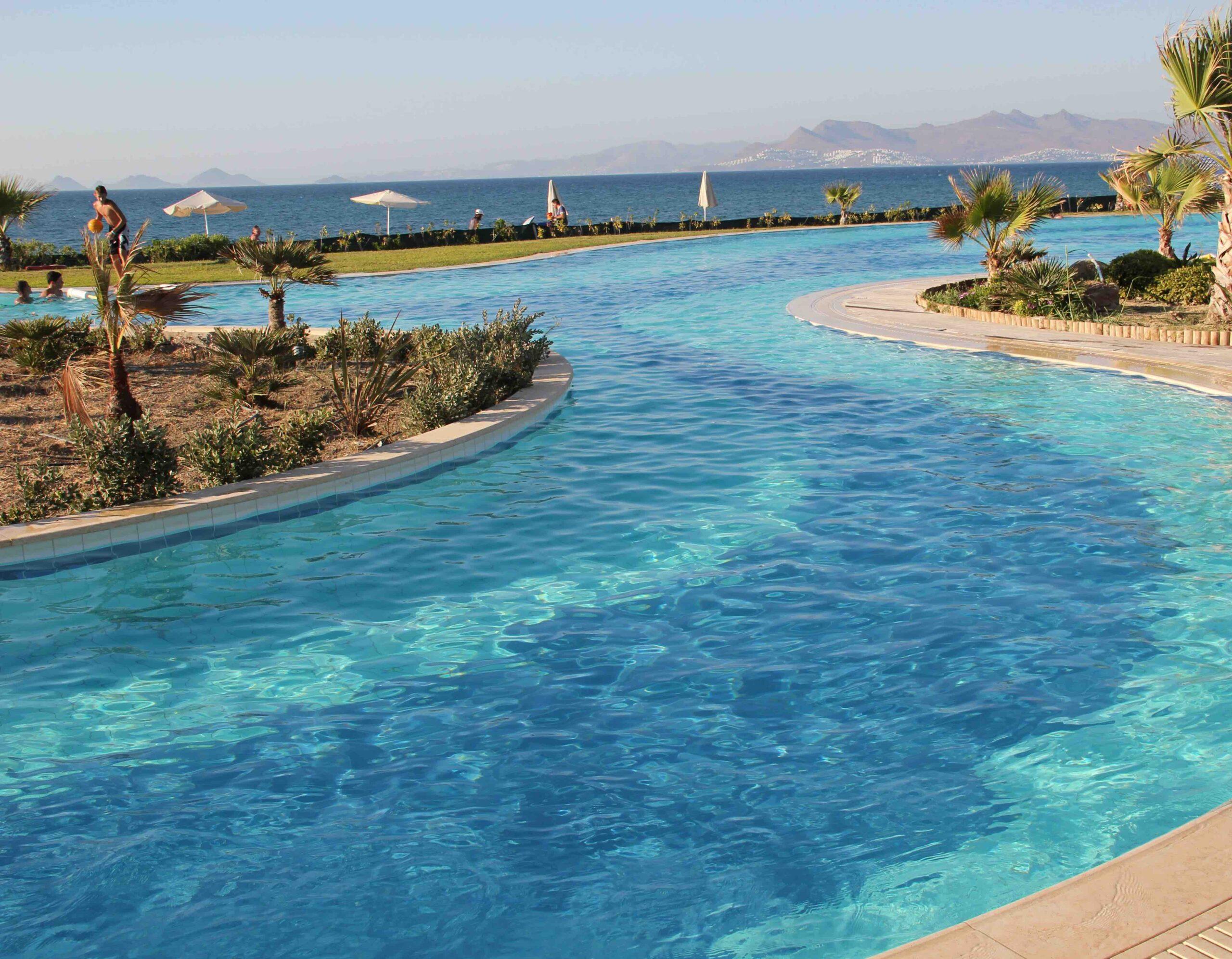 piscine avec chemin d'eau